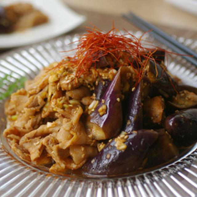 蒸しナスと豚肉の韓国風
