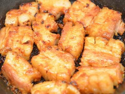 豚バラブロックの味噌漬け焼き