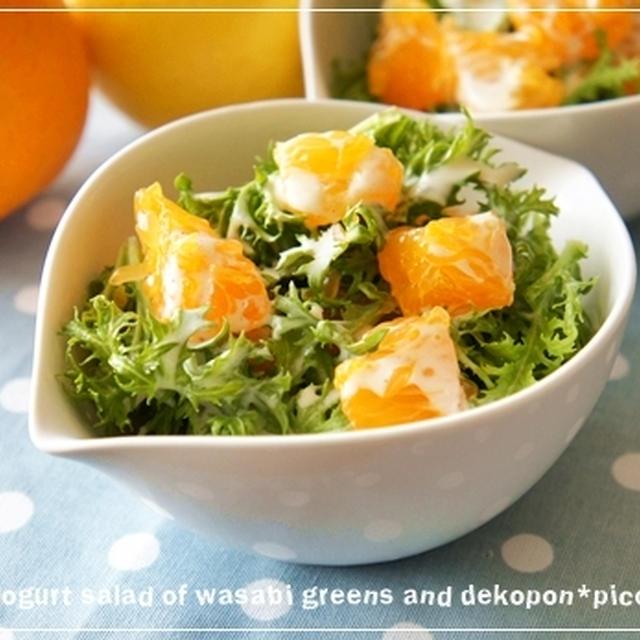 今が旬♪「わさび菜とデコポンのヨーグルトサラダ」