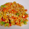 【夏野菜のカラフルサラダ】色んな栄養をたっぷり取ろうね。スプーンサラダ・スコップサラダ。 by くにこキッチンさん