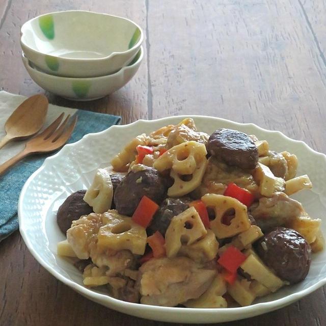 ごはんがすすむ◎鶏もも肉と栗とれんこんのねぎ塩炒め