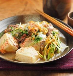 豆腐と水菜の卵とじ
