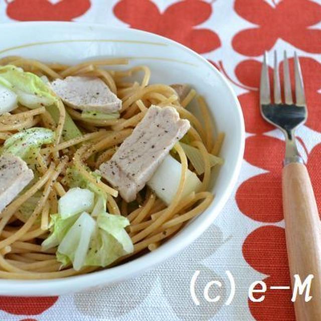 塩チャーシューアレンジレシピ『塩チャーシューと白菜のパスタ』