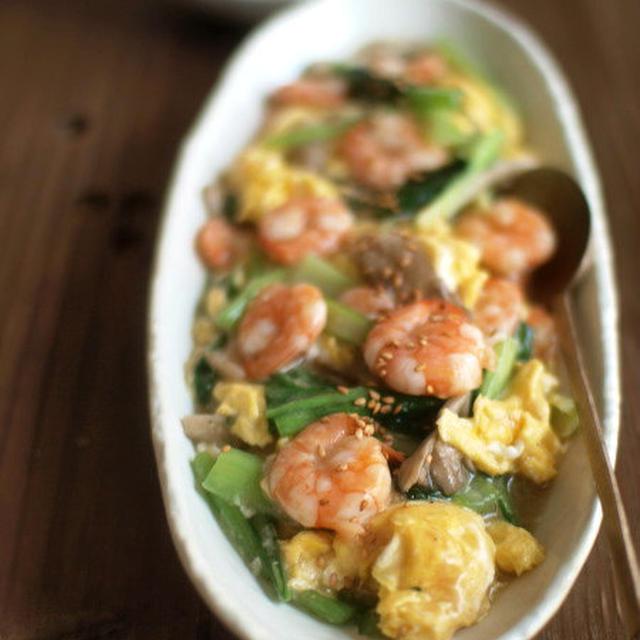 海老と小松菜と卵の塩炒め。
