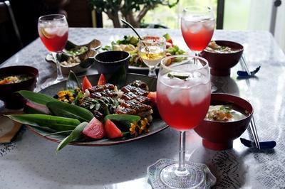 ■朝ご飯続編【③鯛の粗汁④菜園野菜のサラダ⑤赤紫蘇ドリンク】他です♪