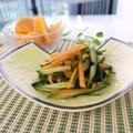 旬の食材で簡単な副菜を♪柿とキュウリの酢の物