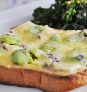季節限定☆新筍と空豆のアンチョビチーズトースト