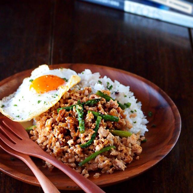 【スパイス大使】鶏ひき肉とアスパラガスのそぼろご飯