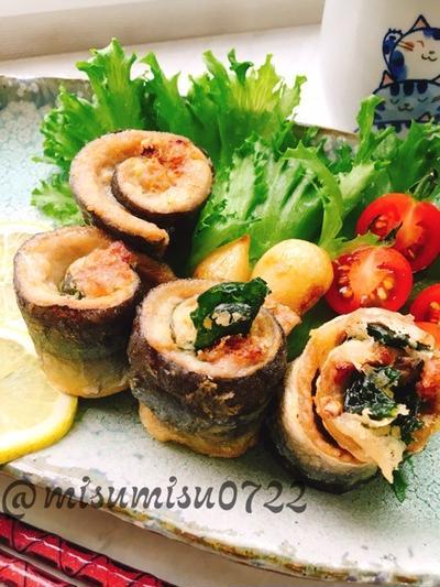 秋刀魚の梅しそロールにんにく揚げ(改良版)