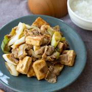 豆腐でヘルシー。生姜焼き風の炒めもの。