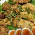 鶏もも肉とマグロの刺身の揚げ甘酢あんかけ