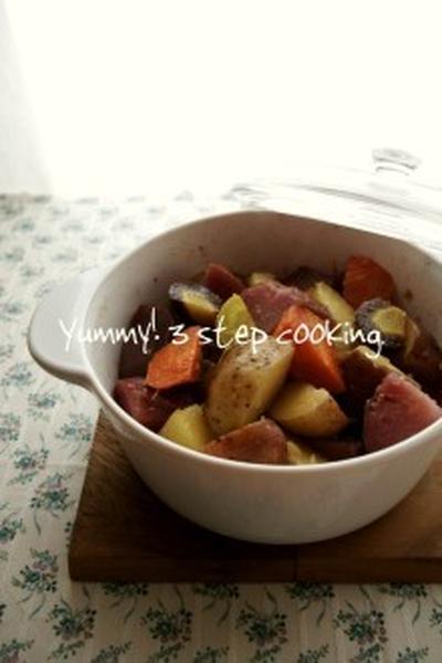 さくっと出来てちょこっと便利♪じゃがいもとにんじんのオリーブオイル和え炒め。と、ヴィトロのお鍋