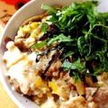 お砂糖なし!なめこ入り豚肉と卵の開花丼 by Misuzuさん
