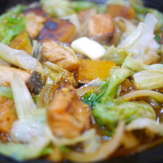 鮭とカボチャとレタスの味噌焼き鍋