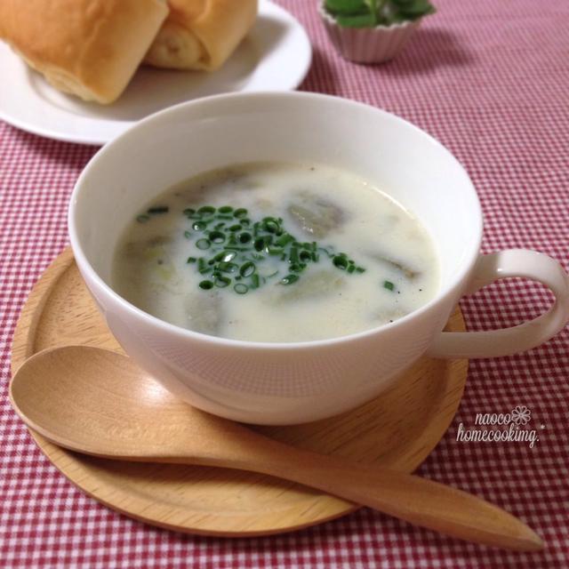 寒くなってきた朝に♪とろとろなすの豆乳スープ