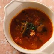 ナスとベーコンのトマトスープ