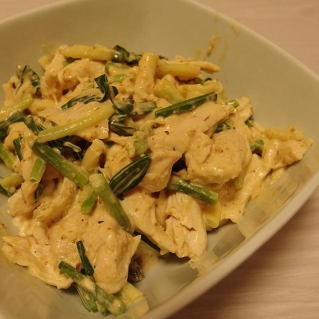行者にんにくとささみの胡麻味噌マヨ和え・ちぢみ雪菜と揚げの海苔バター醤油卵とじ
