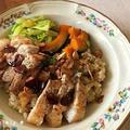 【ダンナ料理】炊飯器で簡単♪ガーリックライス&ポークソテーのスタミナプレート【おうちごはん】