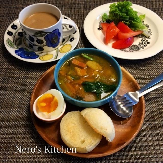 タラとジャガイモのカレースープで朝ごパン♪