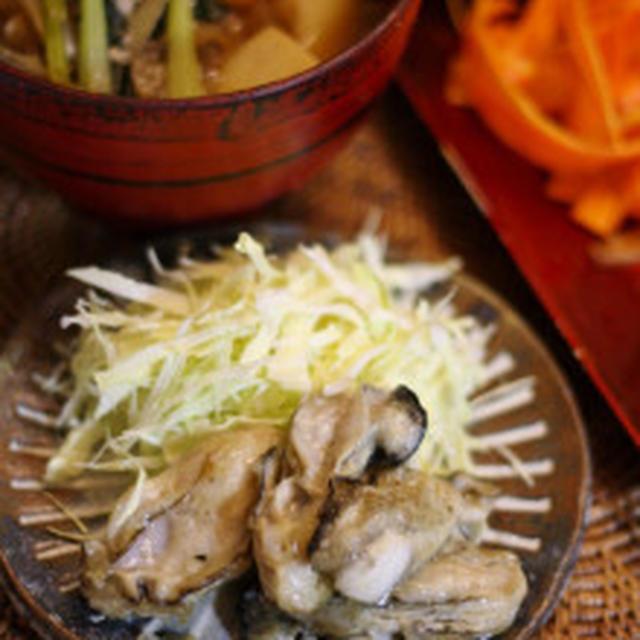 牡蠣のソテーと山梨のお野菜で