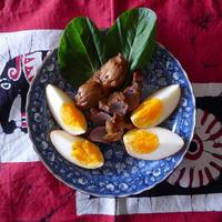 作り置き料理(砂肝と卵の燻製)