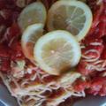 トマトとアボカドのさっぱりレモンパスタ