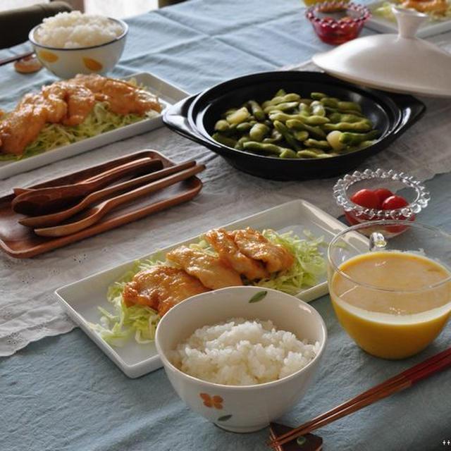 鶏ムネのチリマヨと、めちゃくちゃシンプルなかぼちゃの冷製スープ