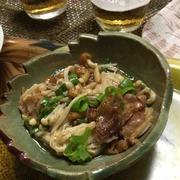 京都の晩ごはん カリカリ豚入り、なめこ酢|京都観光は、京都国際マンガミュージアム