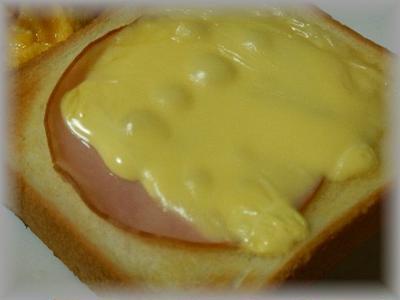 ハムチーズートースト&スクランブルエッグ