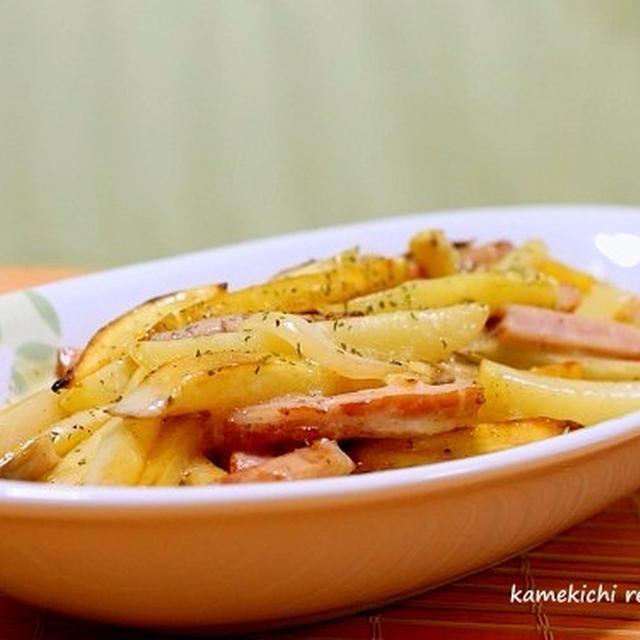 「フライドポテトとハムのクリーム炒め」&「きゅうりのこぶ茶漬け」