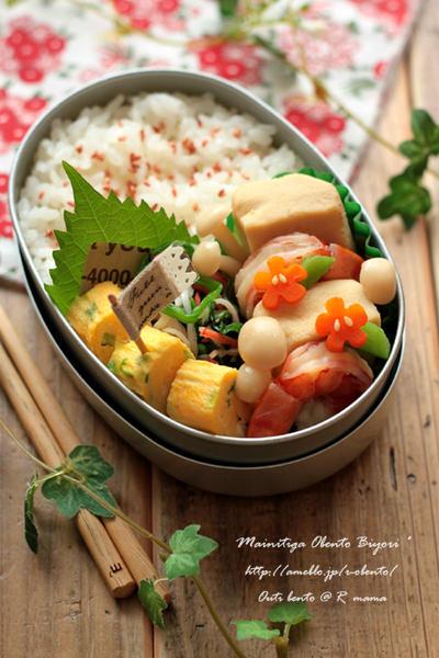 ほっこり和弁♪高野豆腐と海老の煮物弁当~女の子のお弁当~