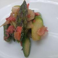 桜海老とアスパラガスの塩炒め