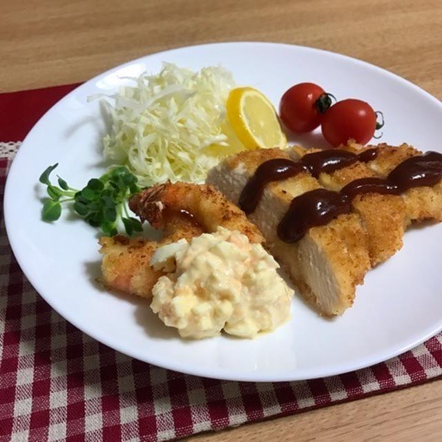 鶏むね肉のチキンカツとエビフライ〜揚げ焼き