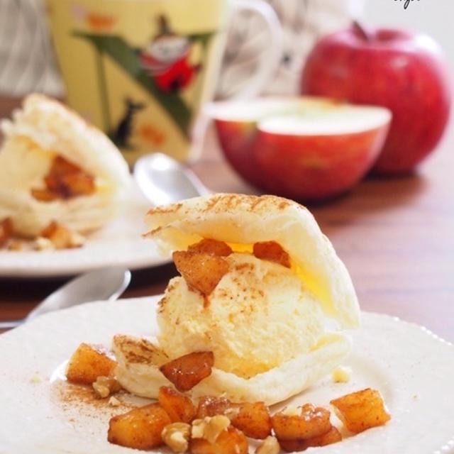 【サクサクとろ〜り♡パイとバニラアイス&シナモンりんごのハイブリットスイーツ♡】