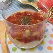 レンチンでコクうまトマトソースをかけて♪ ソースがけ2層ポテサラ
