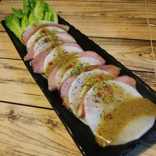 大根とロースハムのピンクペッパーサラダ!
