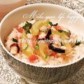 セロリ香る・梅とタコ☆炊き込みご飯 by Jacarandaさん