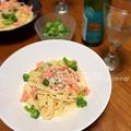 スモークサーモンのクリームスパゲッティ(夕食の献立2015.7.8)