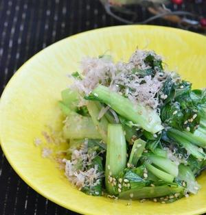 レンジで3分*和えるだけで副菜が1品*チンゲン菜のうま塩おかかナムル