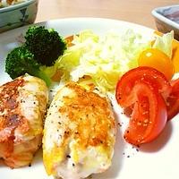 【GABANあらびきブラックペパー☆レシピ】鶏ささみの昆布明太チーズ巻き
