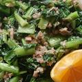 小松菜とシーチキンの塩麹炒め