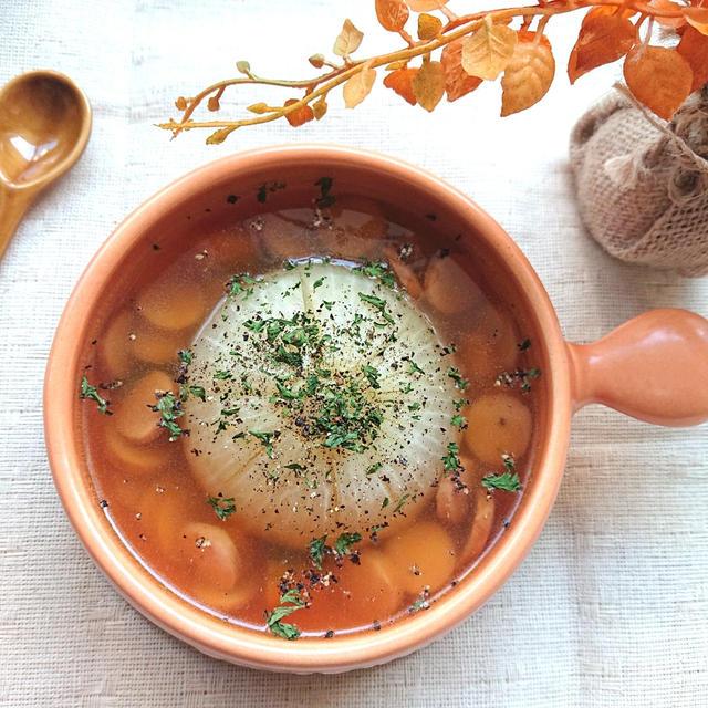 レンジで簡単具だくさんのまるごと玉ねぎスープ(かぼちゃ、エリンギ、ウインナー)