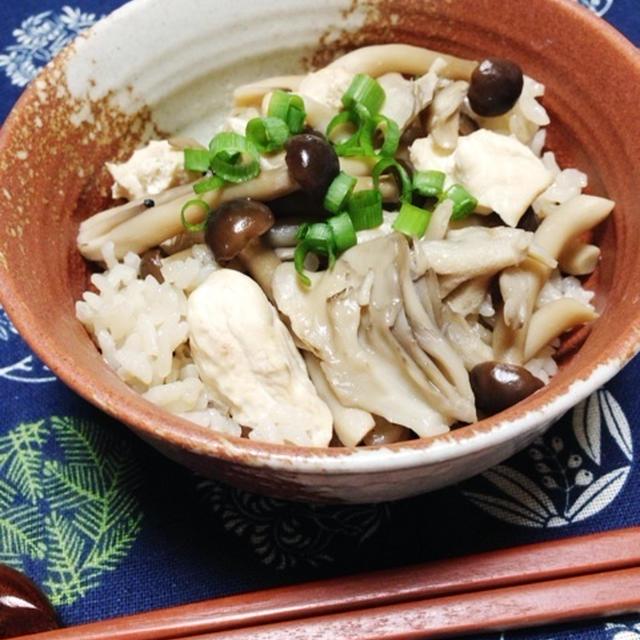 鶏のささみとしめじ&舞茸の超簡単炊き込みごはん 『めんつゆ大使』