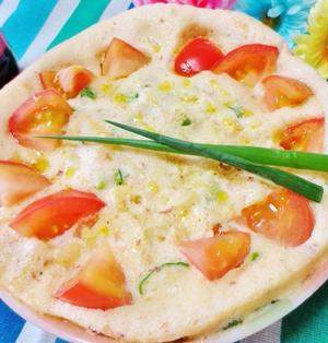 レンジで作った☆トマトのふんわりオムレツ