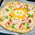 ピザ生地から手作り♪筍のカルボナーラピザ♡