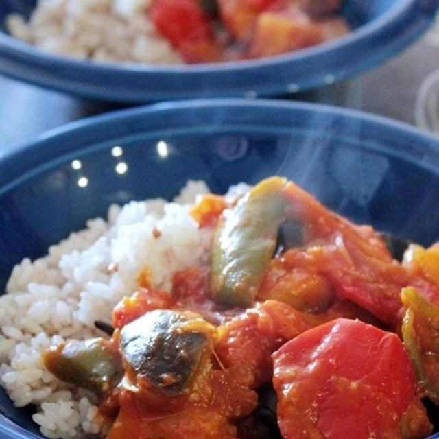 香りソルトを使ったペパーライスで夏野菜のベジカレー。