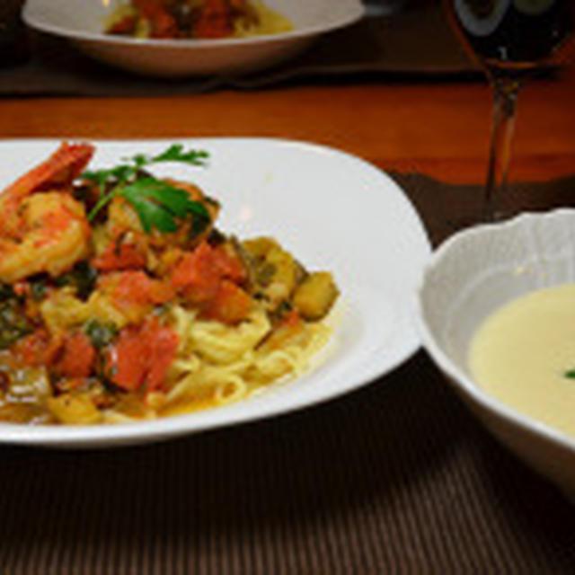 海老のバジルパスタとジャガイモの冷製スープ☆
