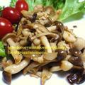 <ブナピーとしめじと椎茸の炒め物(焼肉のたれ風味でうまうま)(^◇^)>