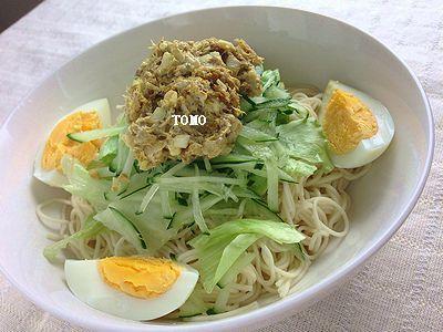 サバ水煮缶 de サバのカレー風素麺