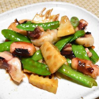 イカと春野菜のオイスターソース炒め。すぐできる簡単おつまみ。